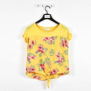 Hippie Rose Juniors Tie-Front Top Yellow Floral
